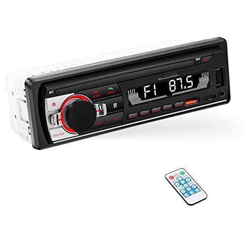 ieGeek Autoradio Bluetooth 5.0, FM/AM/RDS Radio Voiture, LCD Affichage Horloge, 7 Couleurs Éclairage, Supporte Main Libre/Port USB/AUX-IN/SD/MP3/FLAC et Commande à Distance, Autoradio 1 Din