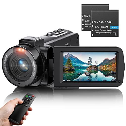 Caméscope 4K HD Caméra Vidéo Youtube Caméscope Caméra Numérique Vlog, WiFi IR Night 48MP Zoom Numérique 16X 3,0 Pouces 270 ° Enregistreur à écran Tactile Rotatif avec Télécommande Microphone
