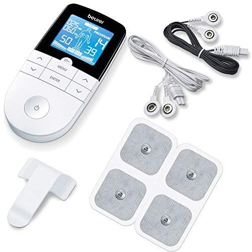 Électrostimulateur TENS Anti-Douleur et électrostimulation Musculaire EMS - rééducation, soulagement des douleurs, Massages, Soins de kinésithérapie - 16 programmes de Massage + 8 électrodes