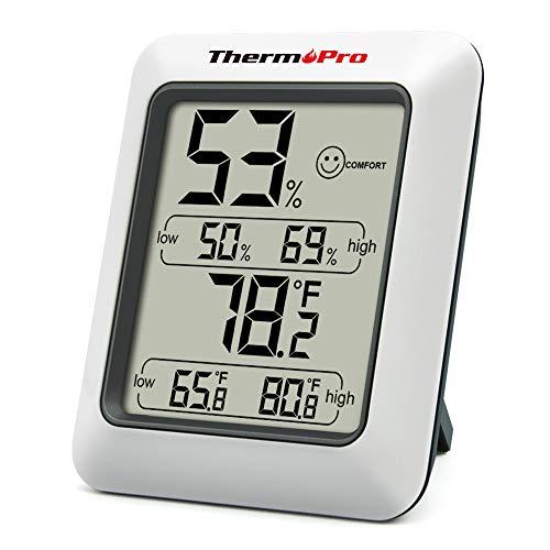 DOQAUS Mini Hygromètre Thermomètre Intérieur à Haute Précision, 5s Lecture Moniteur Humidité et Température, Température Hygromètre Numérique Maison Cave Garage Serre Indicateur du Niveau de Confort