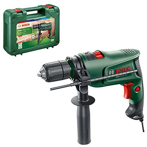 Perceuse à percussion filaire Bosch - Easyimpact 550 (550W, Ø de perçage max béton :10mm, bois: 25mm, livrée avec accessoires et coffret de rangement)