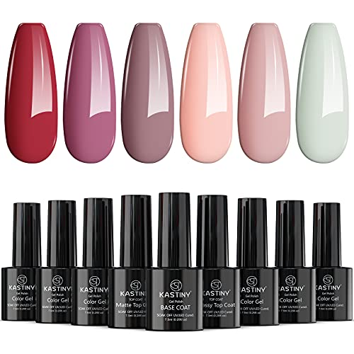 Vernis Semi Permanent -23 Vernis Manucure Nail Art Lot Vernis à Ongles Vernis Gel UV LED Nail Polish Soak Off 20 Couleurs Populaire, Base et Top Coat, Matt Top Coat, 8ml